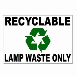 rd017 - Recycling Decal, 7&quot; x 5&quot; LAMP WASTE ONLY, Butt-cut Recycling Labels, Vinyl Recycling Decals, Vinyl Recycling Labels, Vinyl Recycling Stickers