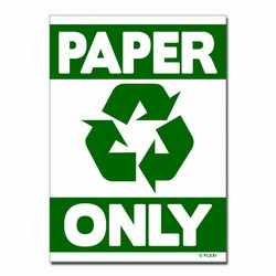 "rd031-01 - Recycling Decal, 5"" x 7"" PAPER ONLY, Butt-cut Recycling Labels, Vinyl Recycling Decals, Vinyl Recycling Labels, Vinyl Recycling Stickers"