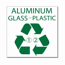 rd032-02 - LARGE 9&quot; x 9&quot; Recycling Decal, Recycling Stickers, Butt-cut Recycling Labels, Vinyl Recycling Decals, Vinyl Recycling Labels, Vinyl Recycling Stickers