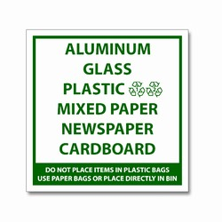 "rd033a - LARGE 7"" Square Recycling Decal Green-Imprint , Recycling Stickers, Butt-cut Recycling Labels, Vinyl Recycling Decals, Vinyl Recycling Labels, Vinyl Recycling Stickers"