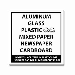 rd033b - LARGE 7&quot; Square Recycling Decal Black-Imprint, Recycling Stickers, Butt-cut Recycling Labels, Vinyl Recycling Decals, Vinyl Recycling Labels, Vinyl Recycling Stickers