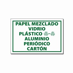AI-rdbin033c - 6&quot;x4&quot; Aluminum Glass Plastic Paper SPANISH Recycling Decal , Recycling Stickers, Butt-cut Recycling Labels, Vinyl Recycling Decals, Vinyl Recycling Labels, Vinyl Recycling Stickers