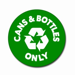 AI-rdbin036-01 - Recycling 4&quot; Vinyl Circle Decal, Recycling Stickers, Butt-cut Recycling Labels, Vinyl Recycling Decals, Vinyl Recycling Labels, Vinyl Recycling Stickers