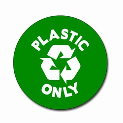 AI-rdbin036-03 - Recycling 4&quot; Vinyl Circle Decal, Recycling Stickers, Butt-cut Recycling Labels, Vinyl Recycling Decals, Vinyl Recycling Labels, Vinyl Recycling Stickers