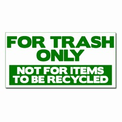rd121 - Recycling Decal  2 1/4&quot; x 4&quot; Green One-Color Imprint on White Vinyl, Recycling Stickers, Butt-cut Recycling Labels, Vinyl Recycling Decals, Vinyl Recycling Labels, Vinyl Recycling Stickers