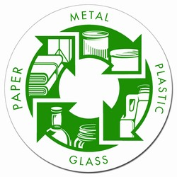 "rd02 - Recycling Decal 5"" CLEAR, Recycling Stickers, Butt-cut Recycling Labels, Vinyl Recycling Decals, Vinyl Recycling Labels, Vinyl Recycling Stickers"