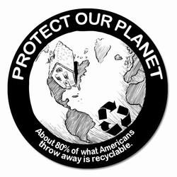 rd04 - Recycling Decal 2&quot; round, Recycling Stickers, Butt-cut Recycling Labels, Vinyl Recycling Decals, Vinyl Recycling Labels, Vinyl Recycling Stickers