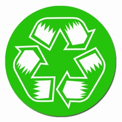 "rd07 - Recycling Decal 2"" round, Recycling Stickers, Butt-cut Recycling Labels, Vinyl Recycling Decals, Vinyl Recycling Labels, Vinyl Recycling Stickers"