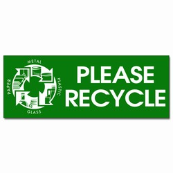 rd009 - Recycling Decal 4&quot; x 2&quot; green rectangle, Recycling Stickers, Butt-cut Recycling Labels, Vinyl Recycling Decals, Vinyl Recycling Labels, Vinyl Recycling Stickers