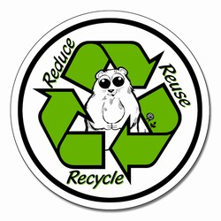 "rd012 - Vinyl Recycling Decal 4"" round green, black and white, Recycling Stickers, Butt-cut Recycling Labels, Vinyl Recycling Decals, Vinyl Recycling Labels, Vinyl Recycling Stickers"