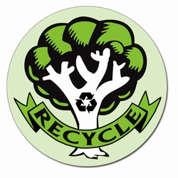 rd021 - Recycling Decal 2&quot; round, Recycling Stickers, Butt-cut Recycling Labels, Vinyl Recycling Decals, Vinyl Recycling Labels, Vinyl Recycling Stickers
