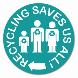 rd022 - Recycling Decal 2&quot; round, Recycling Stickers, Butt-cut Recycling Labels, Vinyl Recycling Decals, Vinyl Recycling Labels, Vinyl Recycling Stickers