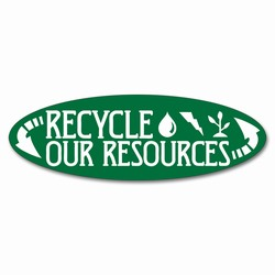 rd023 - Recycling Oval Decal, Recycling Stickers, Butt-cut Recycling Labels, Vinyl Recycling Decals, Vinyl Recycling Labels, Vinyl Recycling Stickers