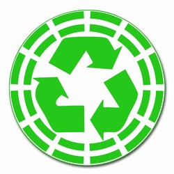 rd026 - Recycling Decal 2&quot; round, Recycling Stickers, Butt-cut Recycling Labels, Vinyl Recycling Decals, Vinyl Recycling Labels, Vinyl Recycling Stickers
