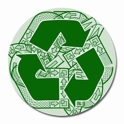 rd027 - Recycling Decal 2&quot; round, Recycling Stickers, Butt-cut Recycling Labels, Vinyl Recycling Decals, Vinyl Recycling Labels, Vinyl Recycling Stickers