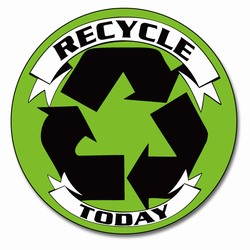 rd028 - Recycling Decal 2&quot; round, Recycling Stickers, Butt-cut Recycling Labels, Vinyl Recycling Decals, Vinyl Recycling Labels, Vinyl Recycling Stickers