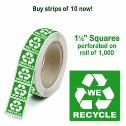 rd029-01 - Recycling Strip of 10 1.5&quot; Square Labels, Recycling Stickers, Butt-cut Recycling Labels, Vinyl Recycling Decals, Vinyl Recycling Labels, Vinyl Recycling Stickers
