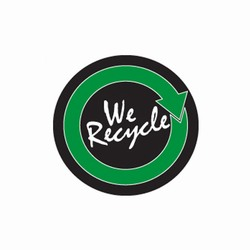 rd112 - Recycling Decal, Recycling Stickers, Butt-cut Recycling Labels, Vinyl Recycling Decals, Vinyl Recycling Labels, Vinyl Recycling Stickers