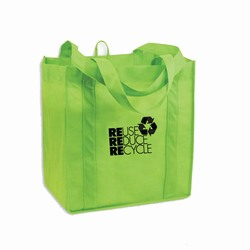 AI-rhbag028-1 - Recycling Polypropylene Grocery Tote - Recycling Brown Paper Shopping Bag 8&quot; x 10&quot;, Recycling Incentive, Recycling Promotional Ideas, Recycling Promo Gifts, Recycling Gifts for Tradeshows, recycling ad specialties