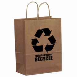 "rh031 - Recycling Brown Paper Shopping Bag 8"" x 10"", Recycling Incentive, Recycling Promotional Ideas, Recycling Promo Gifts, Recycling Gifts for Tradeshows, recycling ad specialties"