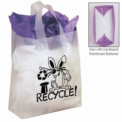 "rh032 - Recycling Frosted Shopping Bag 8"" x 10"", Recycling Incentive, Recycling Promotional Ideas, Recycling Promo Gifts, Recycling Gifts for Tradeshows, recycling ad specialties"
