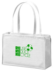 AI-rhbag070-02 Reduce Reuse Recycle Tote Bag, 20X16, Recycling Incentive, Recycling Promotional Ideas, Recycling Promo Gifts, Recycling Gifts for Tradeshows, recycling ad specialties