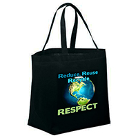AI-rhbag070 Reduce Reuse Respect Tote Bag, 16x13.5x5.5, Recycling Incentive, Recycling Promotional Ideas, Recycling Promo Gifts, Recycling Gifts for Tradeshows, recycling ad specialties