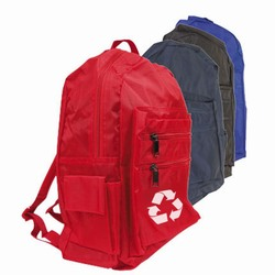 rh075 - Recycling Medium Nylon Backpack, Recycling Incentive, Recycling Promotional Ideas, Recycling Promo Gifts, Recycling Gifts for Tradeshows, recycling ad specialties