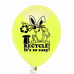 "rh055-02 - Recycling 9"" Latex Balloon, Recycling Incentive, Recycling Promotional Ideas, Recycling Promo Gifts, Recycling Gifts for Tradeshows, recycling ad specialties"