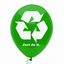 "rh055-03 - Recycling 11"" Latex Balloon, Recycling Incentive, Recycling Promotional Ideas, Recycling Promo Gifts, Recycling Gifts for Tradeshows, recycling ad specialties"