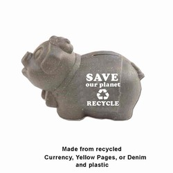 rh021 - Piggie Bank made with Recycled Materials, Recycling Incentive, Recycling Promotional Ideas, Recycling Promo Gifts, Recycling Gifts for Tradeshows, recycling ad specialties