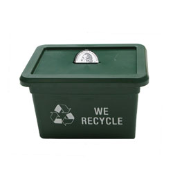 Recycle Bin Bank made with Recycled Materials, Recycling Incentive, Recycling Promotional Ideas, Recycling Promo Gifts, Recycling Gifts for Tradeshows, recycling ad specialties