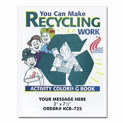 "rh030-03 - Recycling Coloring Book 8.5"" x 11"", Recycling Incentive, Recycling Promotional Ideas, Recycling Promo Gifts, Recycling Gifts for Tradeshows, recycling ad specialties"