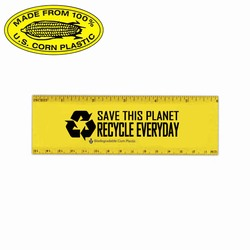 "rh036-04 - Recycling Biodegradable 6"" Ruler, Recycling Incentive, Recycling Promotional Ideas, Recycling Promo Gifts, Recycling Gifts for Tradeshows, recycling ad specialties"