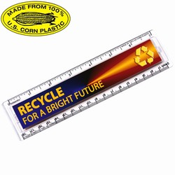 "rh051-13 - Recycling Corn Plastic 7"" Ruler, Recycling Incentive, Recycling Promotional Ideas, Recycling Promo Gifts, Recycling Gifts for Tradeshows, recycling ad specialties"