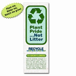 rh058-01 - Recycling 'Plant-A-Seed' Bookmark, Recycling Incentive, Recycling Promotional Ideas, Recycling Promo Gifts, Recycling Gifts for Tradeshows, recycling ad specialties