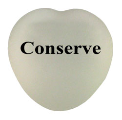 AI-rhdsk237-03 Conserve Seaglass Heart Stone - Recycling Recycled Paperweight, Recycling Incentive, Recycling Promotional Ideas, Recycling Promo Gifts, Recycling Gifts for Tradeshows, recycling ad specialties