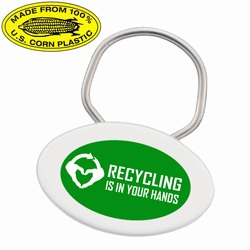 rh051-07 - Recycling Corn Oval Keyring , Recycling Incentive, Recycling Promotional Ideas, Recycling Promo Gifts, Recycling Gifts for Tradeshows, recycling ad specialties