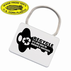 rh051-09 - Recycling Rectangular Corn Keyring, Recycling Incentive, Recycling Promotional Ideas, Recycling Promo Gifts, Recycling Gifts for Tradeshows, recycling ad specialties