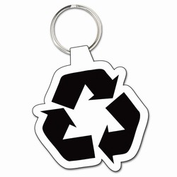 "rh078 - Recycling 1-3/4"" Soft Keytag, Recycling Incentive, Recycling Promotional Ideas, Recycling Promo Gifts, Recycling Gifts for Tradeshows, recycling ad specialties"