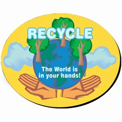 "rh002-02 - Recycling Oval Fabric MOUSEPAD 7.5""X9.5"", Recycling Incentive, Recycling Promotional Ideas, Recycling Promo Gifts, Recycling Gifts for Tradeshows, recycling ad specialties"