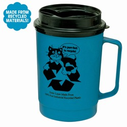 rh015-05 - Recycling 22oz Mug w/Drink Thru Lid, Recycling Incentive, Recycling Promotional Ideas, Recycling Promo Gifts, Recycling Gifts for Tradeshows, recycling ad specialties