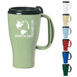 AI-rhmug028-03 Earth Day Everyday Biodegradable Travel Mug, Recycling Incentive, Recycling Promotional Ideas, Recycling Promo Gifts, Recycling Gifts for Tradeshows, recycling ad specialties