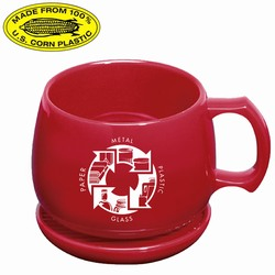 rh051-02 - Recycling Corn Mug Souper/Coaster/Lid Set 12oz., Recycling Incentive, Recycling Promotional Ideas, Recycling Promo Gifts, Recycling Gifts for Tradeshows, recycling ad specialties