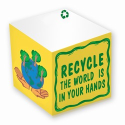 "rh027 - Recycling 2 3/8"" Adhesive Memo Cube, Energy Conservation Handouts, Energy Conservation Gift, Energy Conservation Incentive"