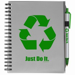 "rh004 - Recycling 5""x7"" Plastic Cover Notebook with PEN, Recycling Incentive, Recycling Promotional Ideas, Recycling Promo Gifts, Recycling Gifts for Tradeshows, recycling ad specialties"