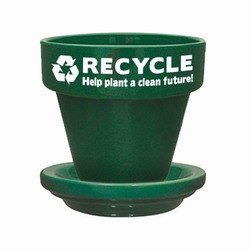 "rh003-01 - Recycling 5-1/2"" Flower Pot With Saucer, Recycling Incentive, Recycling Promotional Ideas, Recycling Promo Gifts, Recycling Gifts for Tradeshows, recycling ad specialties"