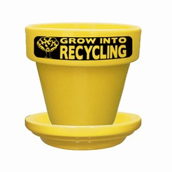 "rh003-02 - Recycling 5-1/2"" Flower Pot With Saucer, Recycling Incentive, Recycling Promotional Ideas, Recycling Promo Gifts, Recycling Gifts for Tradeshows, recycling ad specialties"