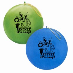 "rh055-01 - Recycling 16"" Punch Balls, Recycling Incentive, Recycling Promotional Ideas, Recycling Promo Gifts, Recycling Gifts for Tradeshows, recycling ad specialties"