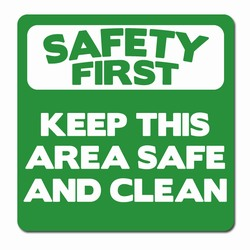 "sd010-04 - Vinyl Safety First Decal 3.5"" square , Safety Sticker, Safety Door Decal, Safety Door Sticker, Safety Label"